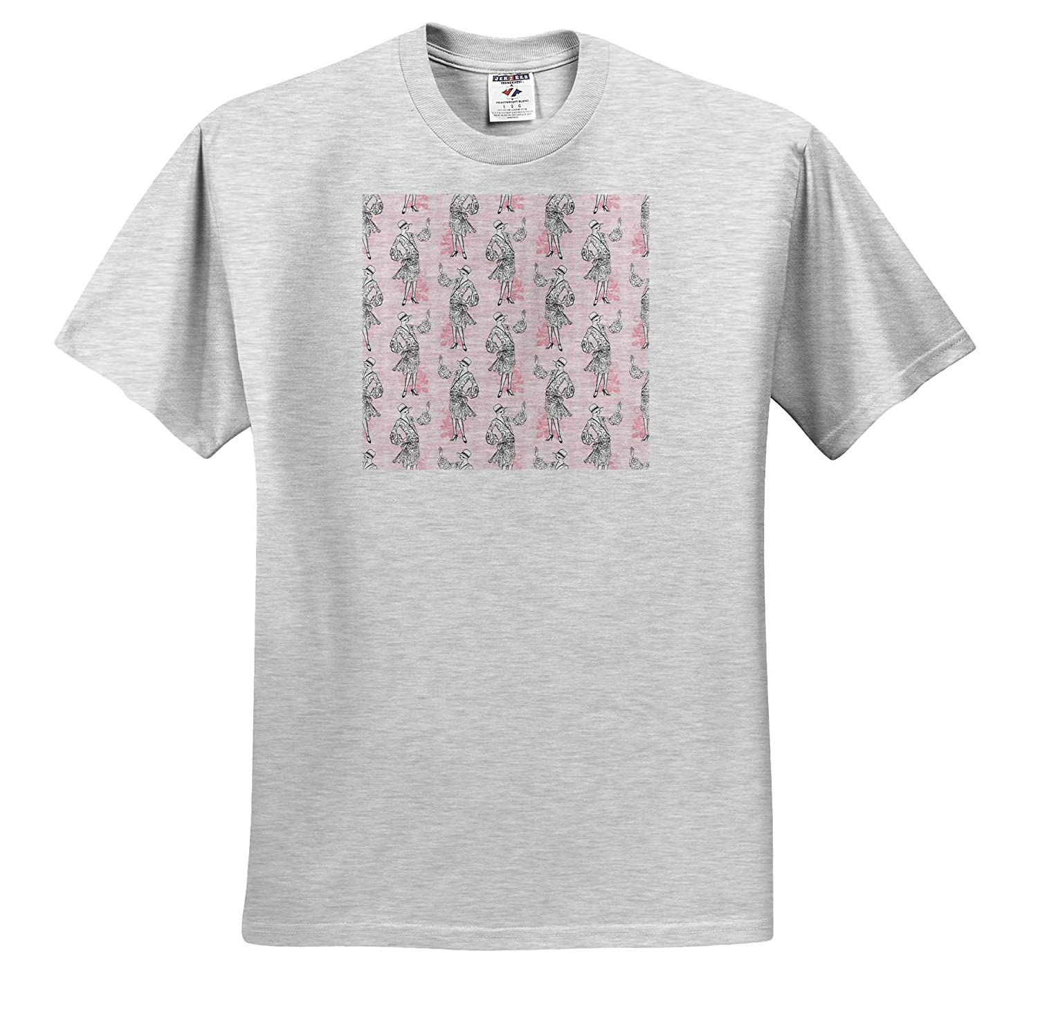 ts/_317618 3dRose Anne Marie Baugh Patterns Chic 1920 Flapper Ladies On Pink Pattern Adult T-Shirt XL