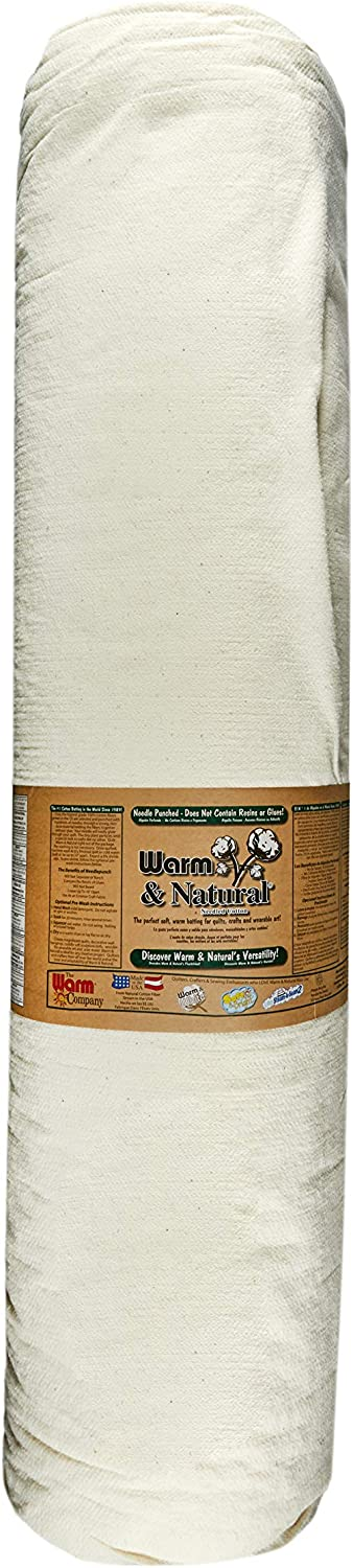 Renewed King WARM COMPANY 124-Inch by 30-Yard Warm and Natural Cotton Batting by The Yard