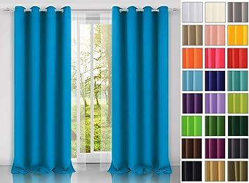 modern Vorhang (Blau 41) Schal mit Ösen 140x250 CM ...