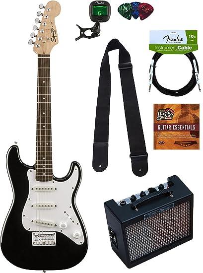 amazon com squier by fender mini strat electric guitar black