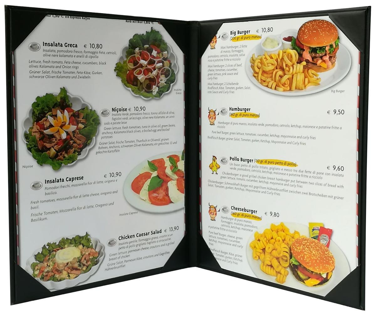 """5 Pcs of Restaurant Menu Covers Holders 8.5"""" X 11"""" Inches, Double View,Sold by Case,with Clear PVC Sheets for Paper Protection"""