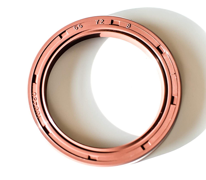 2.165x2.835x0.315 Oil Seal 55X72X8 Viton Oil Seal Grease Seal TC  EAI Double Lip w//Garter Spring 55mmX72mmX8mm Single Metal Case w//Viton Rubber Coating