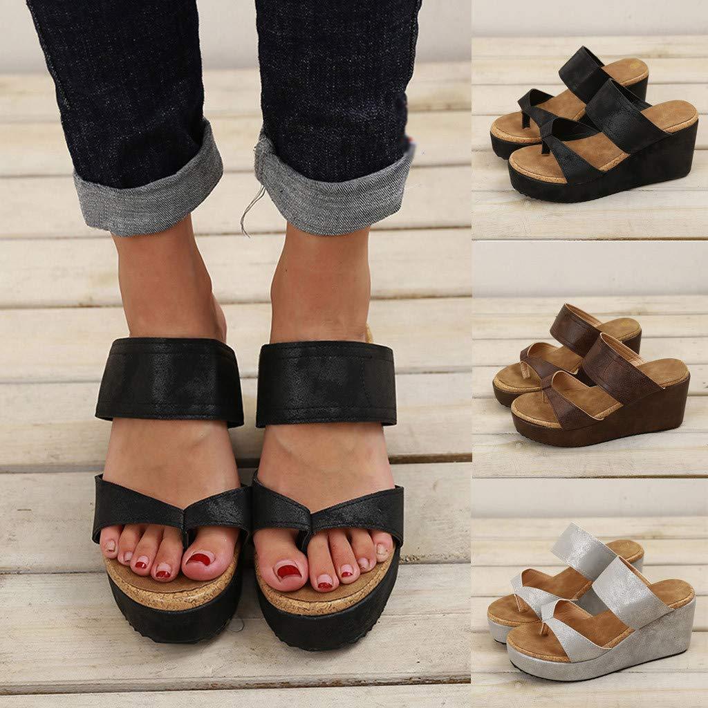 Open Toe Breathable Beach Casual Shoes Womens Platform Wedge Flip Flop Thong Sandal