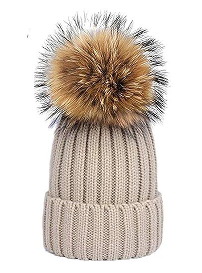 188709fdd9171 LOKIDVE Women's Girls Winter Warm Knit Beanie Hat with Fur Pom Pom  Skullcap-Beige