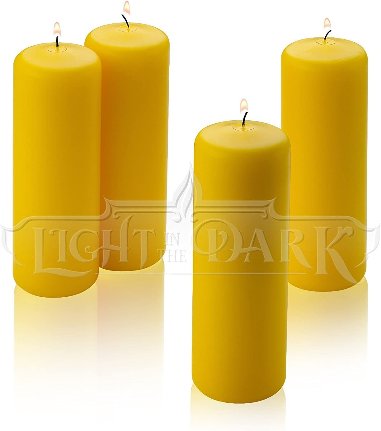 2 inch Thick Made in USA 6 inch Tall Citronella Pillar Candle 36 Hour Burn Time for Indoor//Outdoor Use Set of 4 Summer Scented Yellow Citronella Candles
