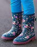 OAKI Kids Rubber Rain Boots, Midnight Floral, 4Y US