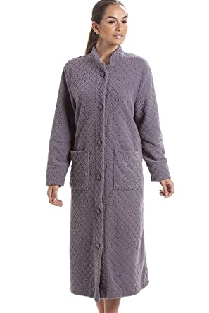Camille Gray Soft Fleece Floral Full Length Button Up Housecoat 4/6 Gray