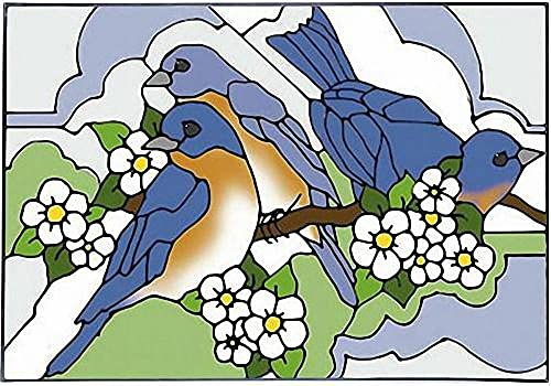 Bluebird and Blossom Horizontal Art Glass Panel Wall Hanging Suncatcher 14 x 20