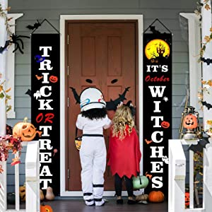 U UBEGOOD Halloween Decorations Outdoor, Halloween Decor Porch Sign, Trick or Treat & It's October Witches, Halloween Hanging Banner Signs for Front Door, Indoor Home Decor, Halloween Welcome Signs