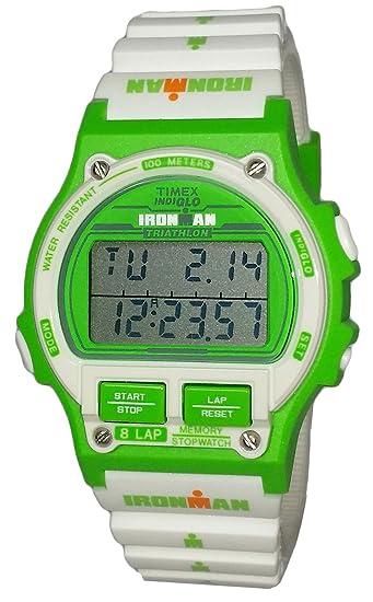 Timex Ironman Triathlon verde color blanco reloj Digital del deporte los hombres correa de resina tw5