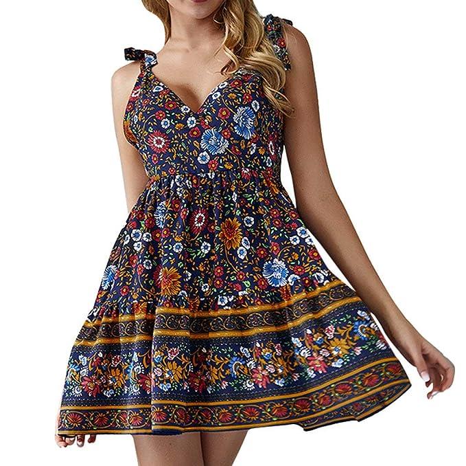 0b3e7d85d177 Vestidos Mujer Casual Verano Vintage Playa Escote en V Vestidos ...