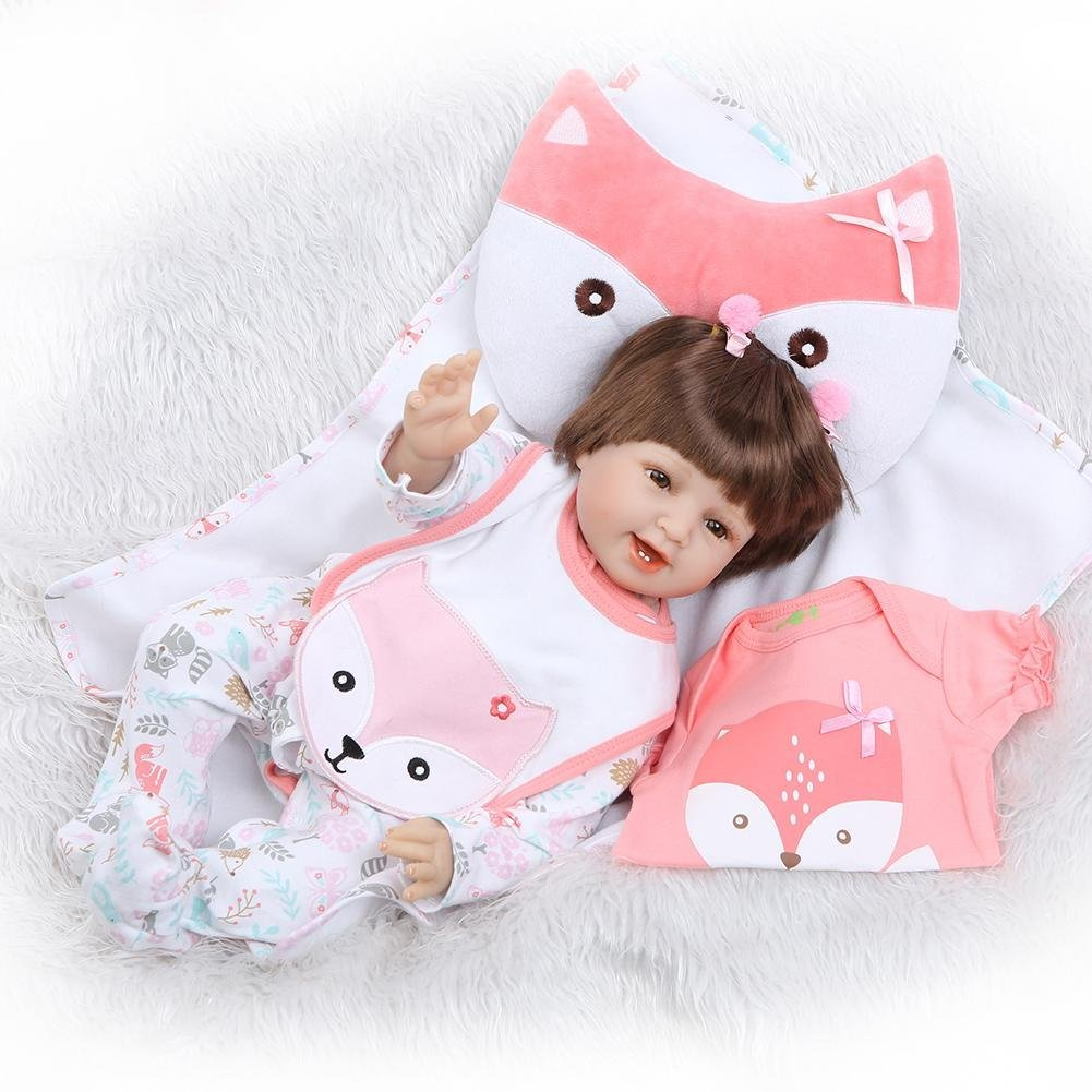 chinatera Kids Toys NPK 3D Cute Artificial Realistic Reborn Baby Doll Soft Silicone Cloth Dolls Kids Playmate by chinatera (Image #4)