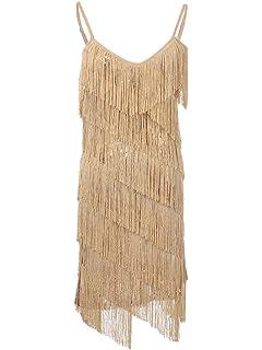 Anna-Kaci Womens Fringe Sequin Strap Backless 1920s Flapper Party Mini Dress 3f1327969