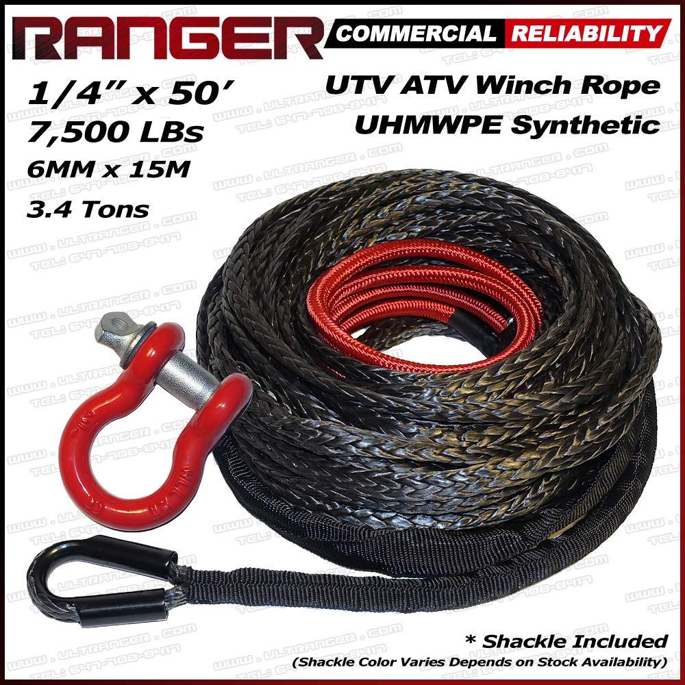 RANGER ULTRANGER SY45 Black 7500LBs 1//4 x 50 UHMWPE Synthetic UTV ATV Winch Rope 1 Pack FOOKOO