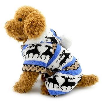 SELMAI Pijamas para Perros Pequeños con capucha Terciopelo de reno Puppy Jumpsuit Escudo Sudadera Doggie Kitten