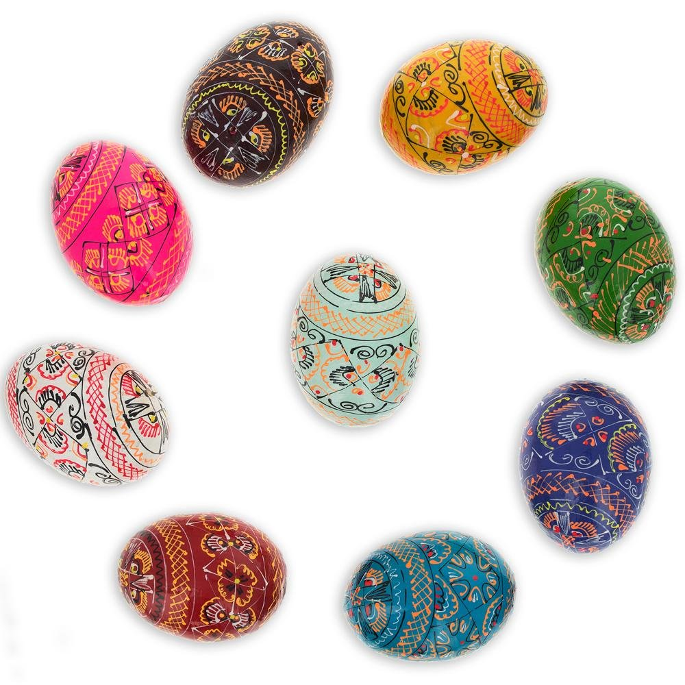 Set of 9 Hand Painted Wooden Pysanky Ukrainian Easter Eggs 2.5 Inches