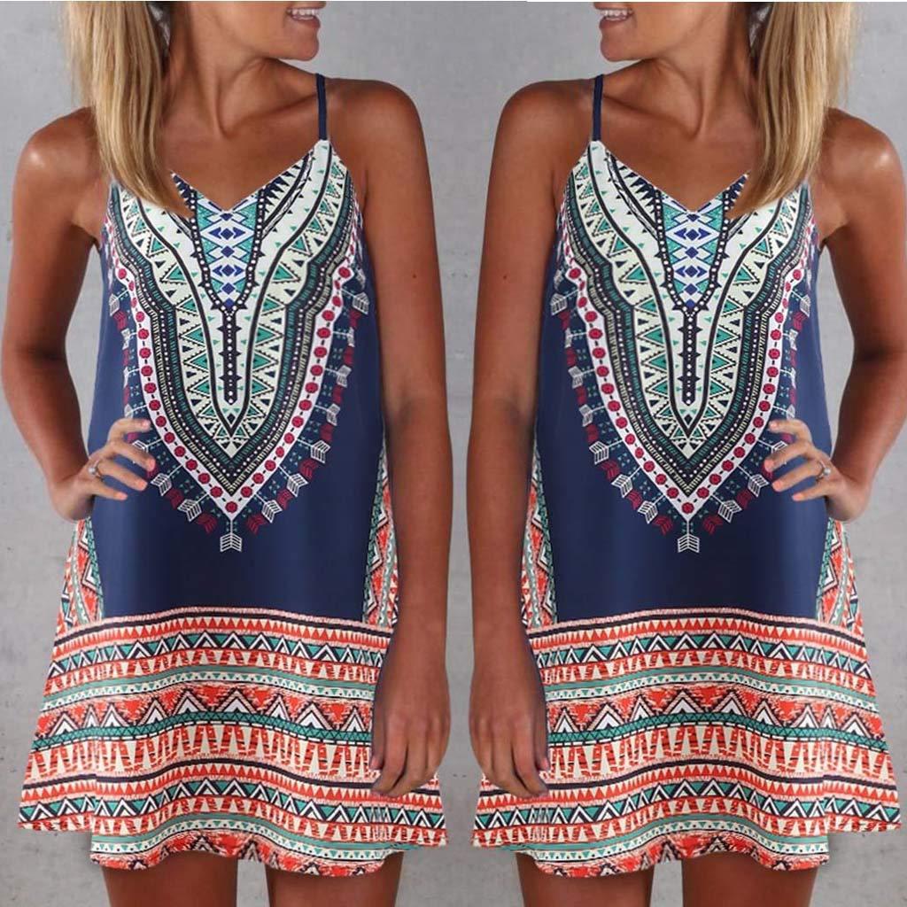 Summer Beach Dresses for Women Sundresses Boho Casual Sleeveless Floral Swing Loose