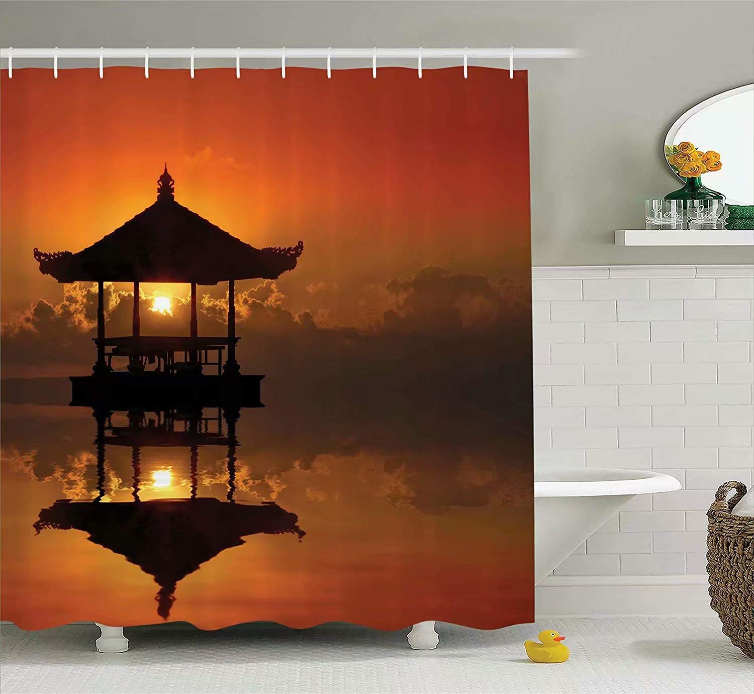 KANATSIU Sunset in Bali Beach Reflection Romance Horizon Summer Cloudscape Shower Curtain 12 Plactic Hooks,100% Made Polyester,Mildew Resistant & Machine Washable,Width x Height is 60x72
