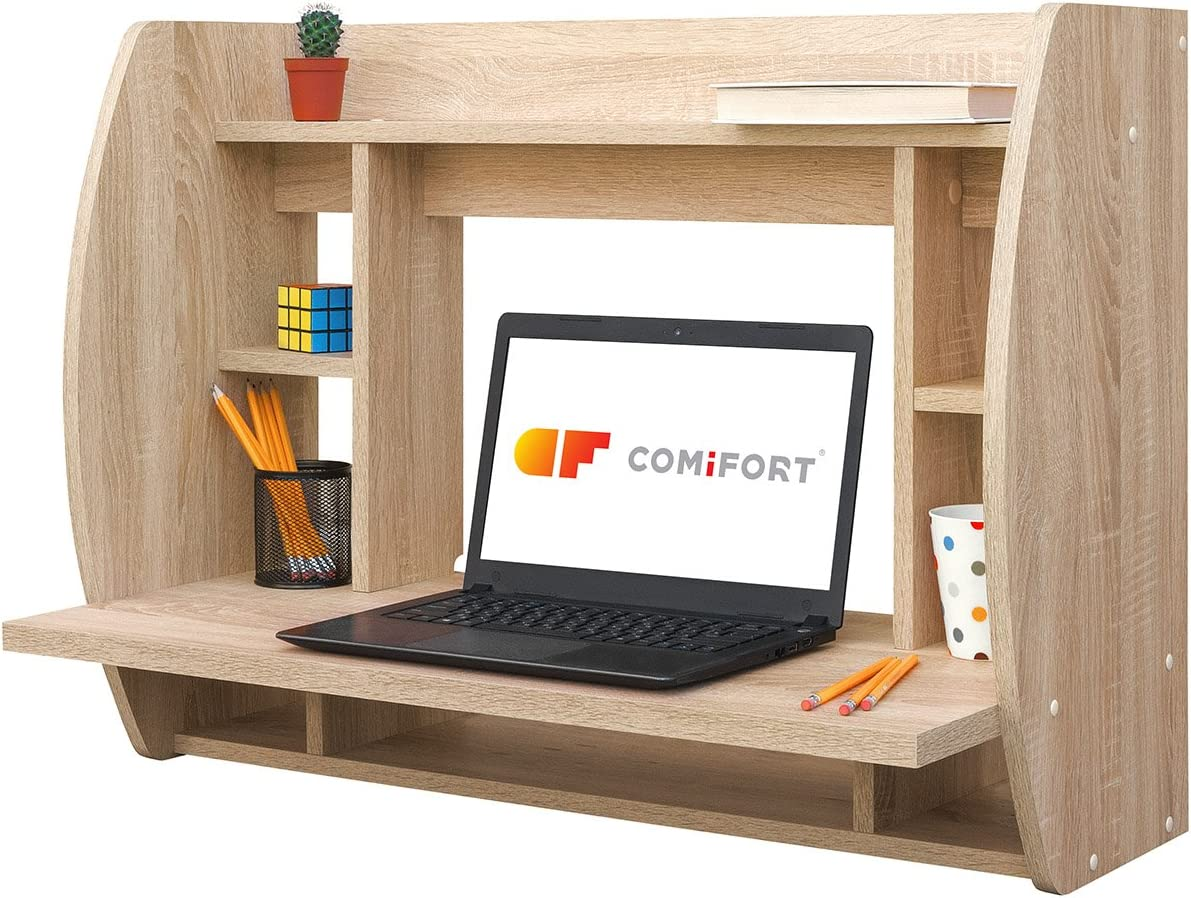COMIFORT Escritorio Colgante - Mesa de Pared con Librería de ...