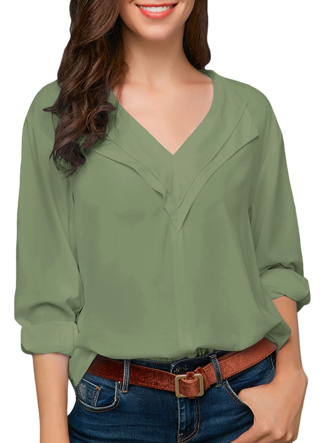 Women Long Sleeve Novelty Blouses Sexy V Neck Fashion Solid Basic Chiffon Blouse Shirts to Work Green Tops S 4 6