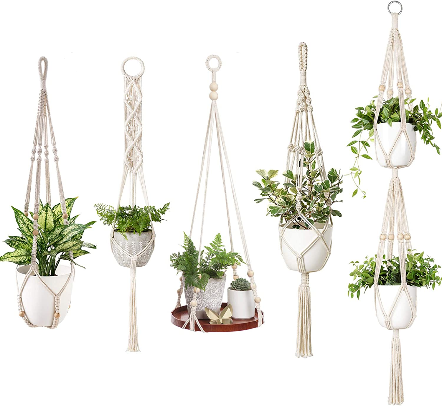 Mkono 5 Pack Macrame Plant Hangers Hanging Plant Shelf Indoor Wall Planter Decorative Flower Pot Holder Boho Home Decor Different Style