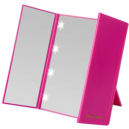 Miss Sweet Led Lighted Tri-Fold Makeup Mirror Purse Mirror Pocket Mirror Travel Mirror Compact for Cosmetic Makeup (Rose)