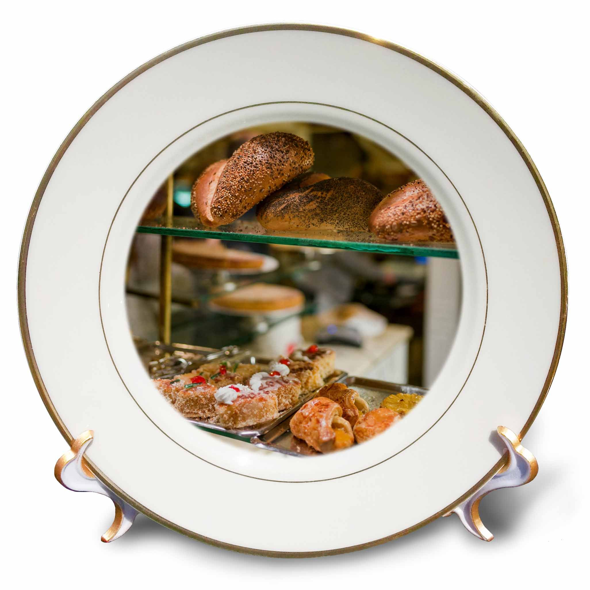 3dRose Danita Delimont - Food - Belgium, Antwerp. Shopping district, bakery window - 8 inch Porcelain Plate (cp_277300_1) by 3dRose (Image #1)
