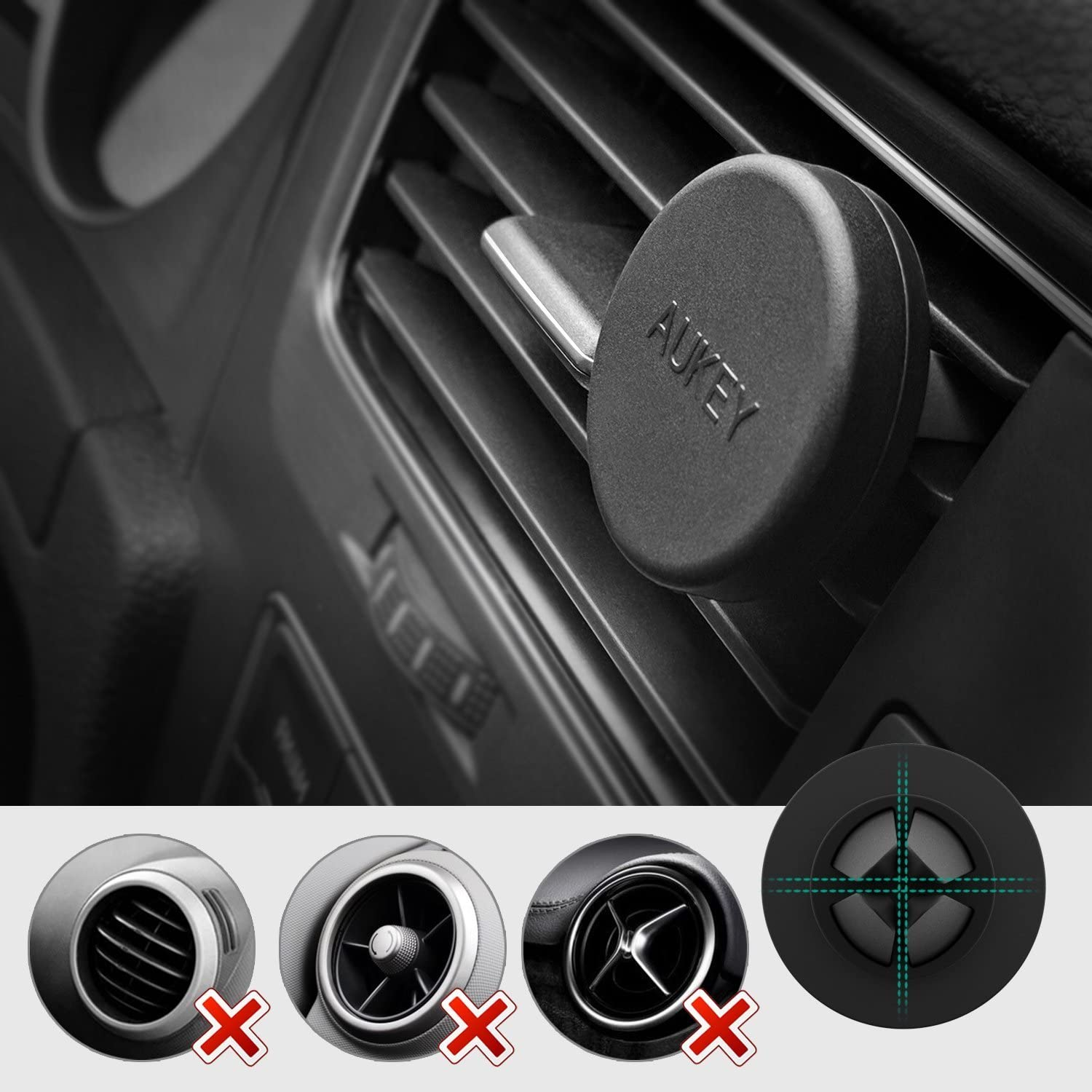 AUKEY Cell Phone Holder for Car Samsung S8 Note 8 2 Pack Magnetic Air Vent Phone Mount for iPhone X // 8//8 Plus // 7//7 Plus // 6s Plus Black