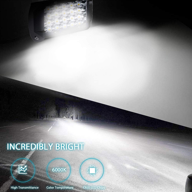 2 Pcs LED Light Bar Kraumi 7/'/' 300W Spot Cree LED Pods 27,000lm Off Road LED Backup Area Flood Lights for Rzr ATV UTV SUV Truck Boat Motorcycle Tractor