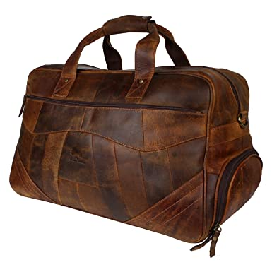 Amazon.com | Leather Travel Duffel Bag Overnight Weekend Luggage ...
