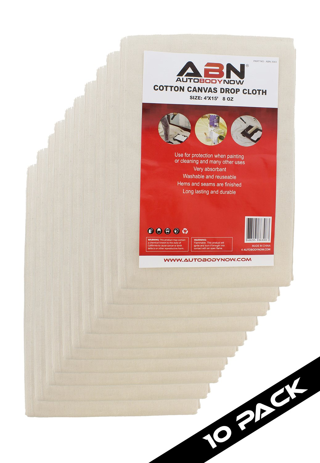 ABN Painters Cotton Canvas Paint Drop Cloth, Large 4' x 15' Foot 10-PACK – Protective White Tarp for Painting, Auto, Furniture