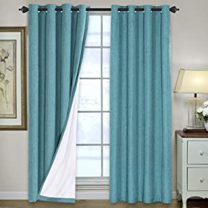 Linen Blackout Curtains 96 Inches Long 100% Total Blackout Heavy-Duty Draperies for Bedroom Living Room Thermal Insulated Textured Functional Window Treatment Anti Rust Grommet (Teal, 2 Panels)