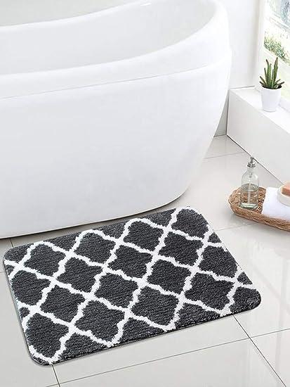 Saral Home Soft Premium Quality Anti Slip Microfiber Bathmat Set of 2Pc -50x80 cm, Grey
