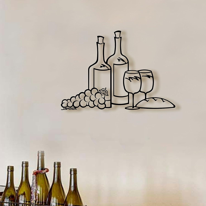 Amazoncom Two Wine Bottle Scene Wine Art Wall Art Metal Art