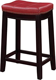 Linon Claridge Counter Stool Red  sc 1 st  Amazon.com : red saddle stool - islam-shia.org