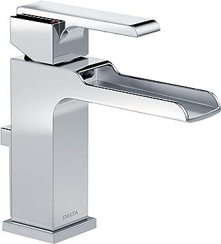 Delta Faucet Ara Single Handle Waterfall Bathroom Faucet With Metal Drain Assembly Chrome 568lf Mpu