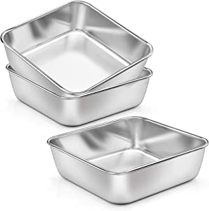 6 Inch Square Baking Cake Pans, 3-Pieces P&P CHEF Stainless Steel Toaster Oven Baking Pan Small Cake Bread Lasagna Brownie, Non-toxic & Healthy, Leakproof & Heavy Duty, Easy Clean & Dishwasher Safe