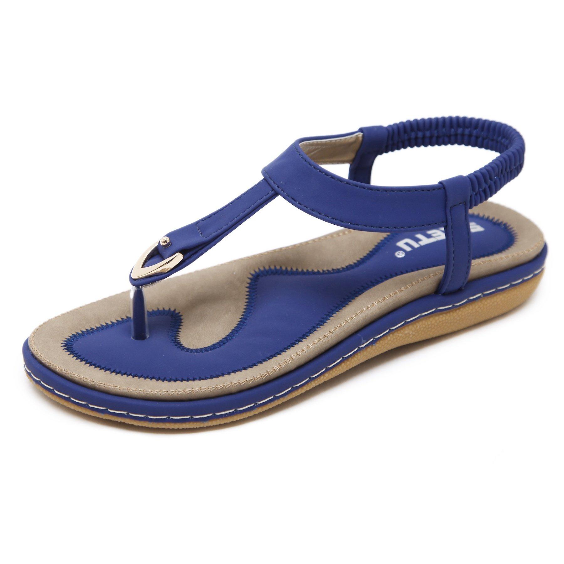 Wollanlily Women Summer Beach Flat Sandals T-Strap Elastic Ankle Strap Flip-Flop Thong Shoes Blue-01 US 9