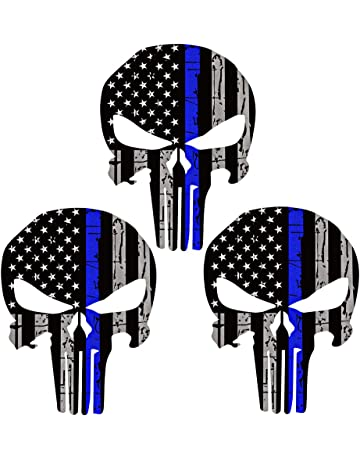 Bundle Reflective Die Cut Punisher Tattered with Thin Blue Line 3 Pack Decals for Cars,