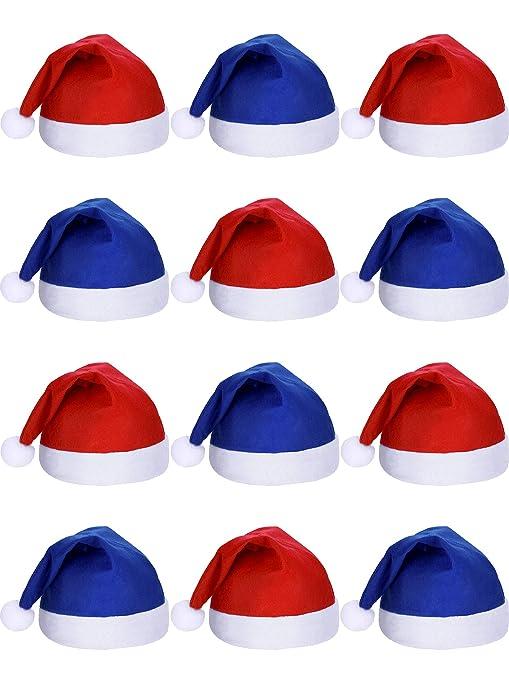 SATINIOR 12 Pezzi Santa Cappelli Natale Tessuto Non Tessuto Cappello per  Vacanze Natale (Blu And fb7a9d4b92e6