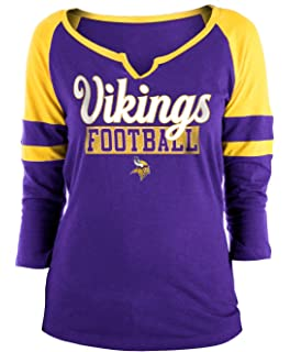 New Era Minnesota Vikings Ladies Slub Jersey 3 4 Sleeve Raglan Split Scoop  T- 7ee94047e