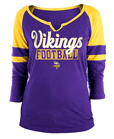31b4c09ea34a4 New Era Minnesota Vikings Ladies Slub Jersey 3 4 Sleeve Raglan Split Scoop T -