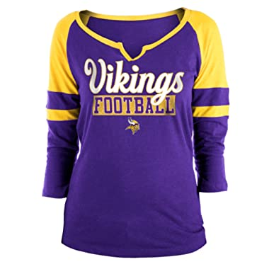 New Era Minnesota Vikings Ladies Slub Jersey 3/4 Sleeve Raglan Split Scoop T-Shirt