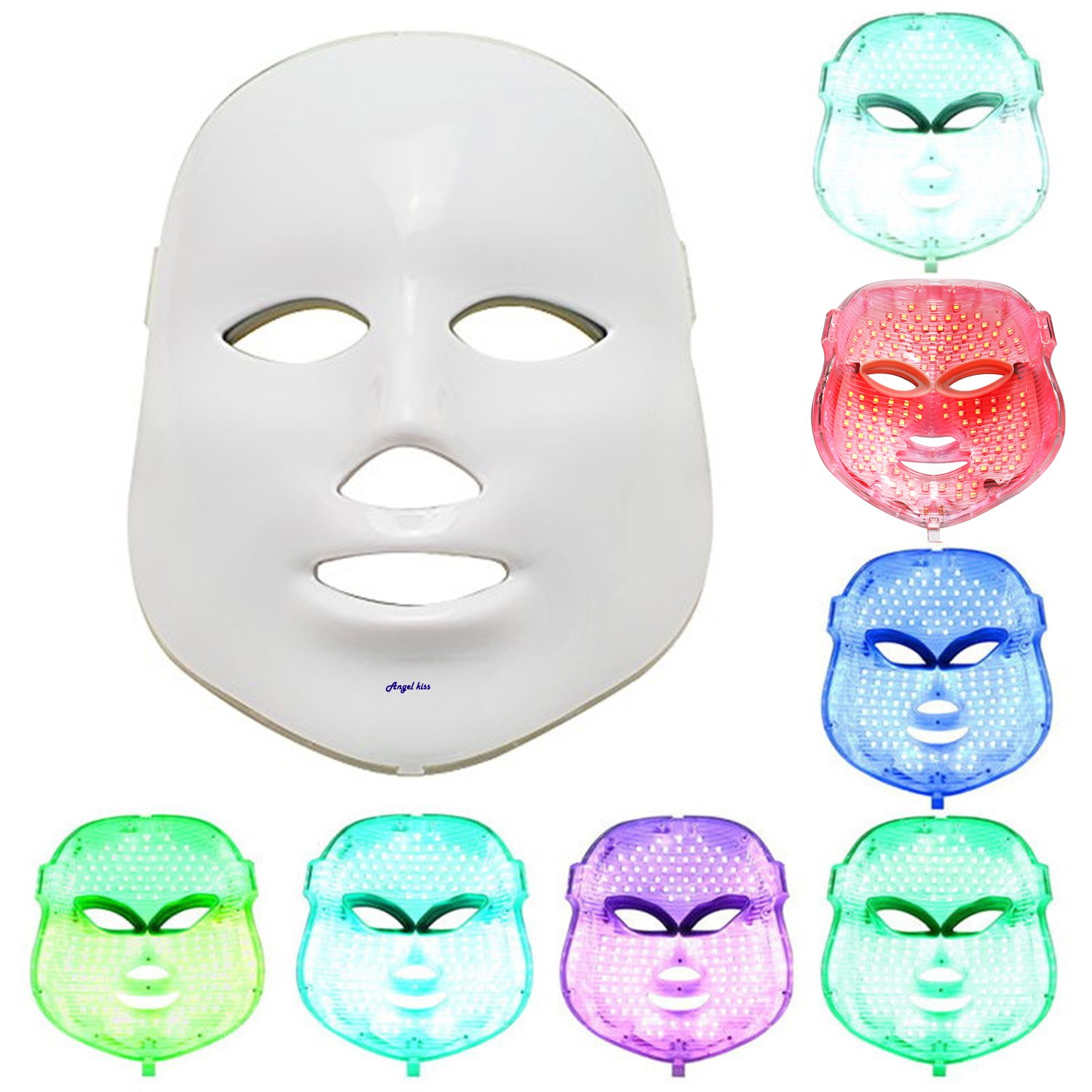 Angel Kiss LED Photon Therapy 7 Color Light Treatment Skin Rejuvenation Whitening Facial Beauty Daily Skin Care Mask (Mask+ Portable Function Board) by Angel Kiss (Image #4)