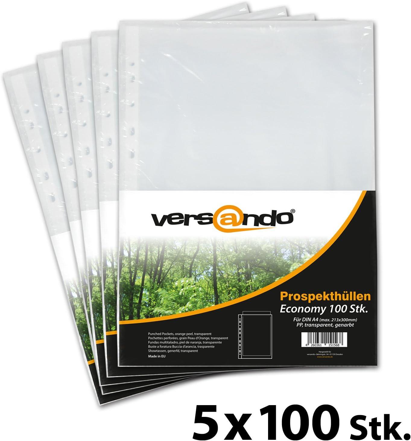 DIN A4 an 2 Seiten offen NEU /& OVP 100 Prospekthüllen Klarsichthüllen