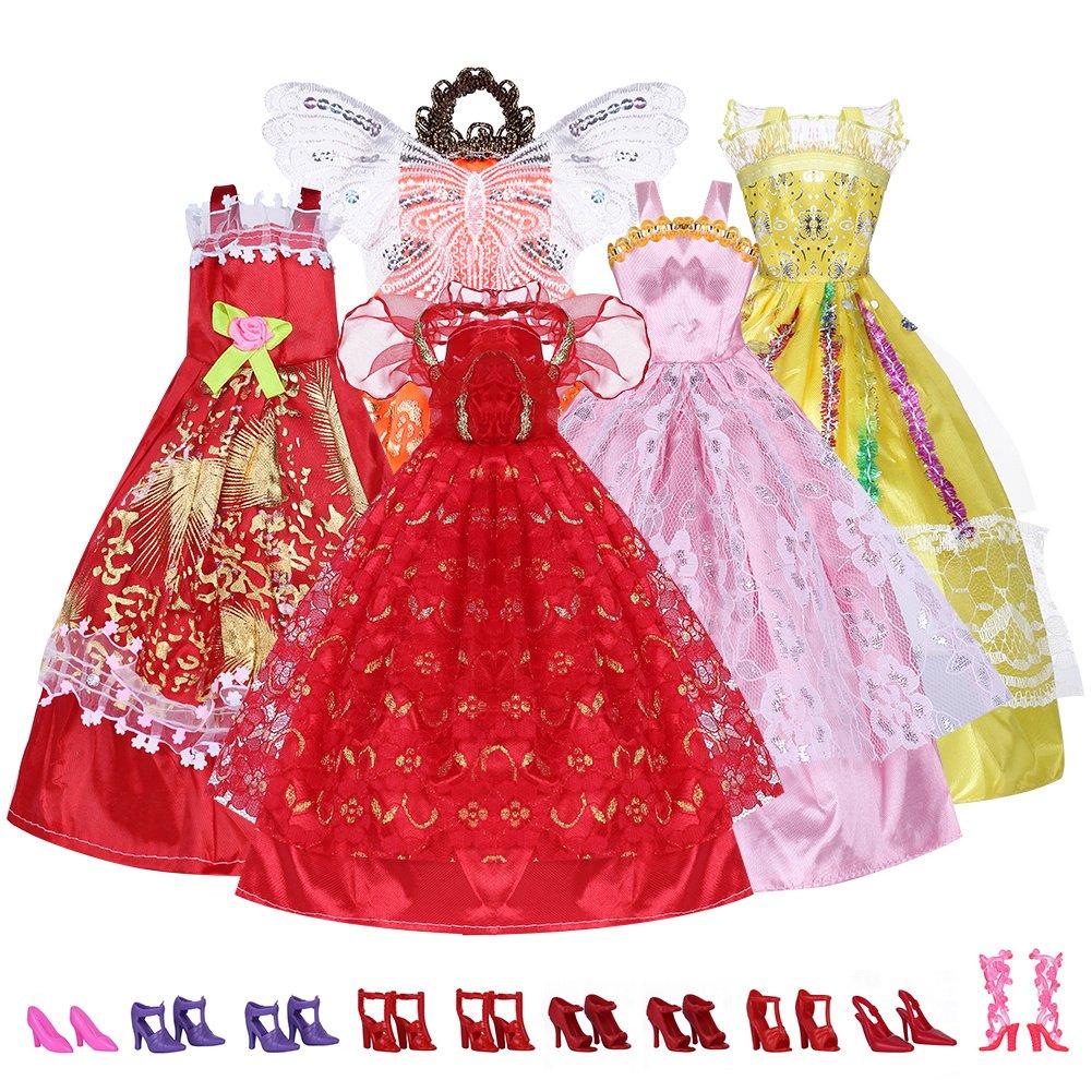 5 x Nuevos Vestidos + 10 pares Zapatos para Barbie Muñecas Ropa ...
