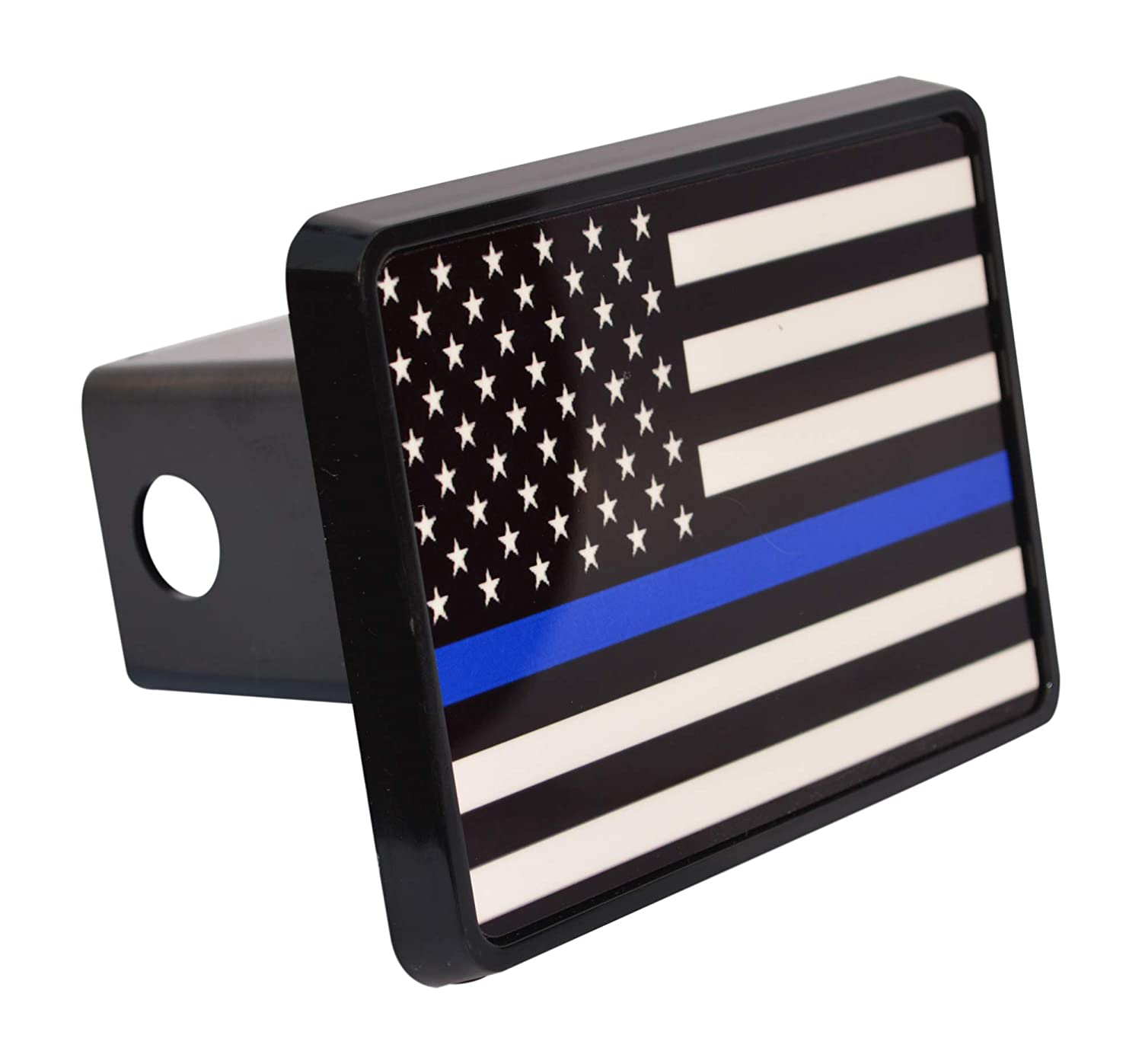 Thin Blue Line Flag Trailer Hitch Cover Plug US Blue Lives Matter Police Officer Law Enforcement Rogue River Tactical VV301