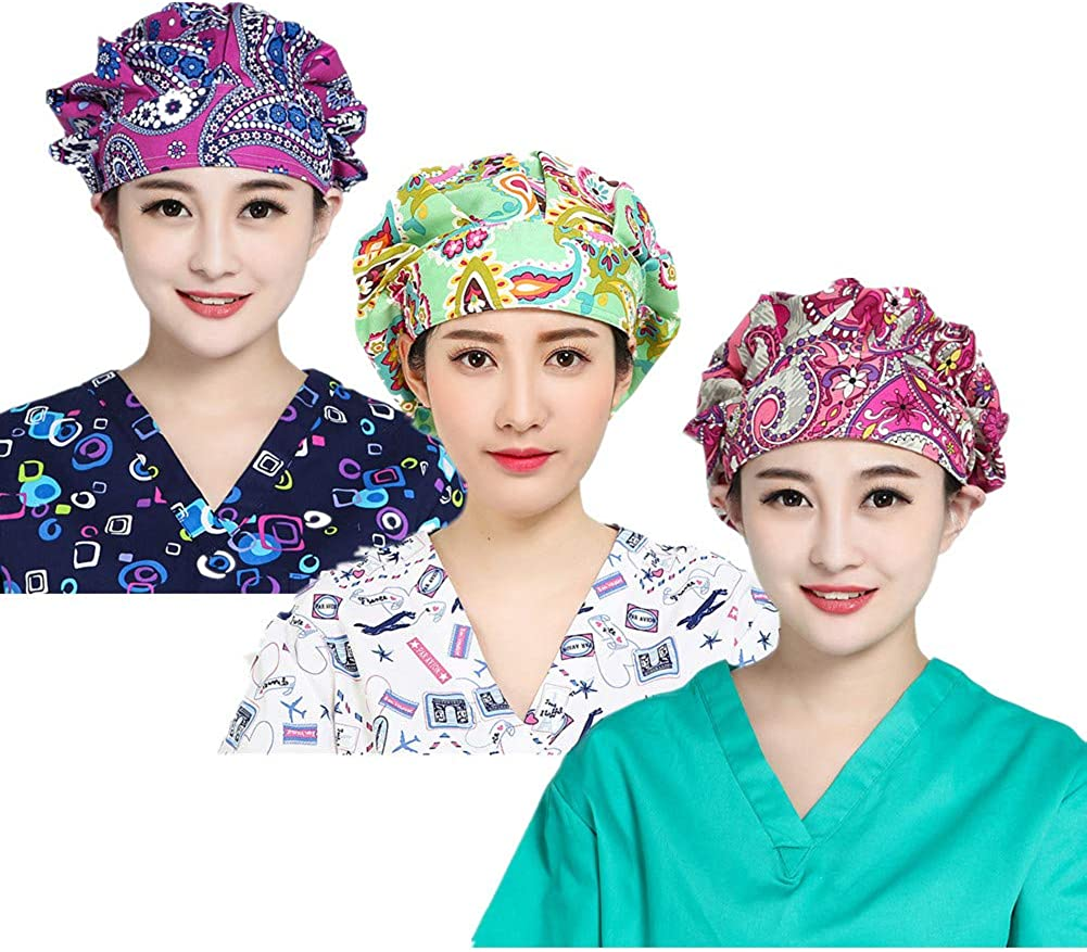 LTifree 3pc Women's Adjustable Bouffant Caps Hats Working Cap Sweatband Value Set Multi Color: Clothing