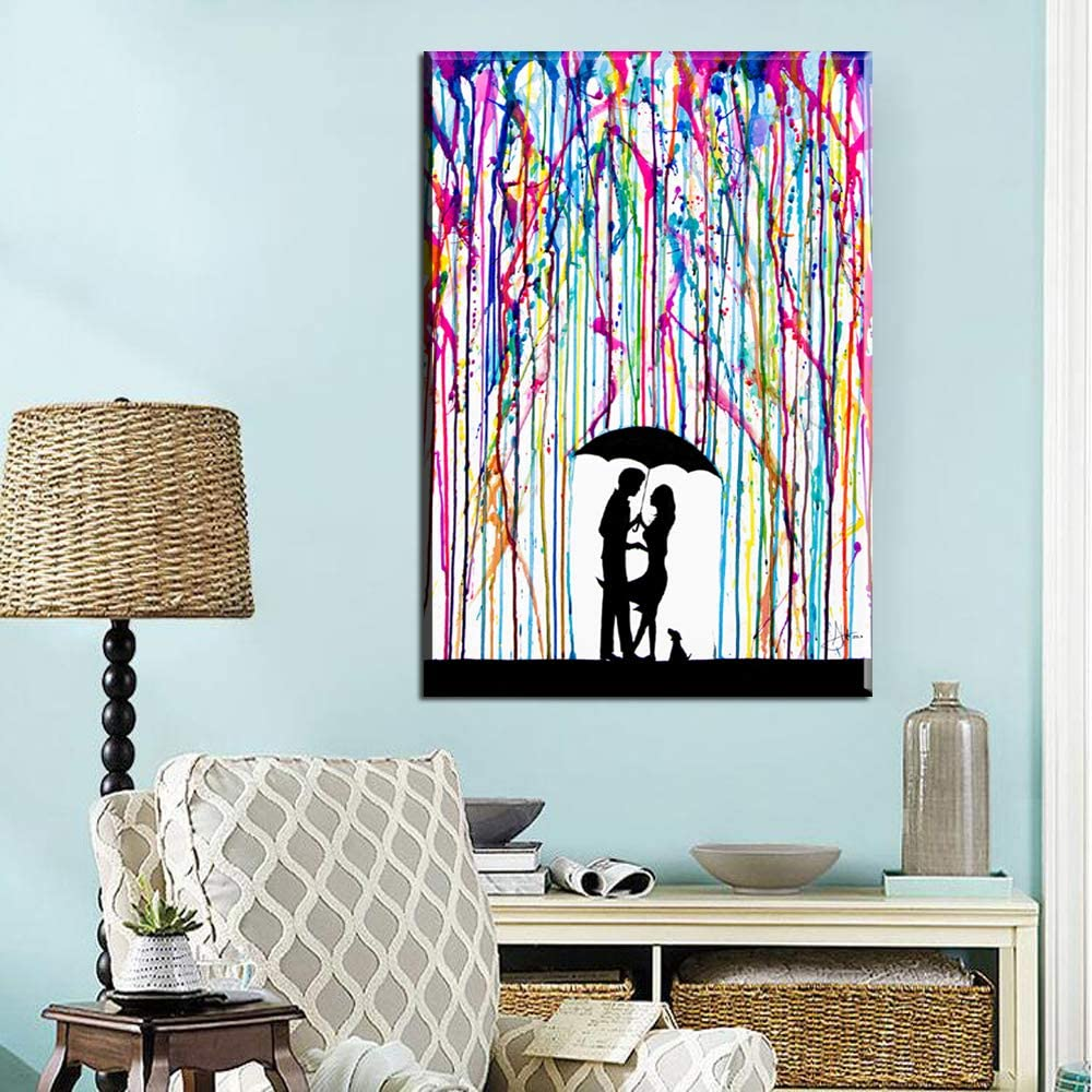 adgkitb canvas Resumen Lluvia Color Hombre Mujer Amor póster impresión Mural Arte Lienzo Lienzo Pintura Cielo Abstracto Lienzo Cuadro 30x45cm Sin Marco