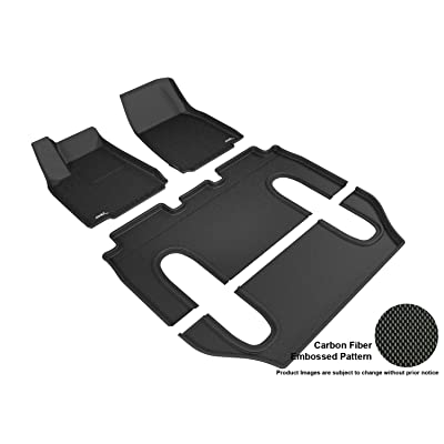 3D MAXpider Complete Set Custom Fit All-Weather Floor Mat for Select Tesla Model X Models - Kagu Rubber (Black): Automotive